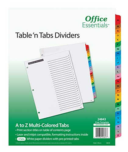 Office Essentials Table 'n Tabs Dividers, 8-1/2' x 11', A-Z Tab, Multicolor Tab, Laser/Inkjet, 3 Sets (24843)