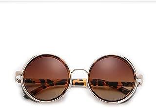 LUKEEXIN Punk Round Retro Vintage Sunglasses Leather Sunglasses for Men and Women (Color : Leopard Grain)