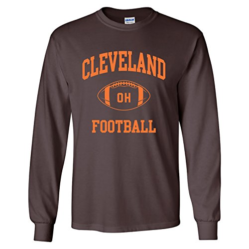 Cleveland Classic Football Arch American Football Team Long Sleeve T Shirt - Medium - Brown