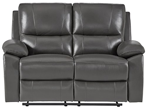 """Homelegance Greeley 59"""" Genuine Leather Reclining Love Seat, Gray"""
