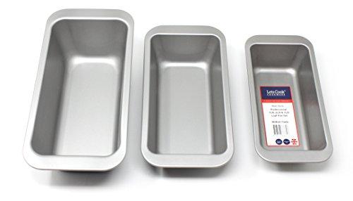 Profi-Kastenform mit 450, 910 und 1360g Fassungsvermögen im Set von Lets Cook Cookware, doppelt antihaftbeschichtet, hergestellt in Großbritannien