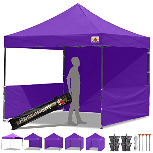 ABCCANOPY 10x10 Pop-up Canopy Easy Pop Up Canopy Tent 10x10 Commercial Tents with Sidewalls Bouns Roller Bag Bonus 2pcs Half Wall (Purple)