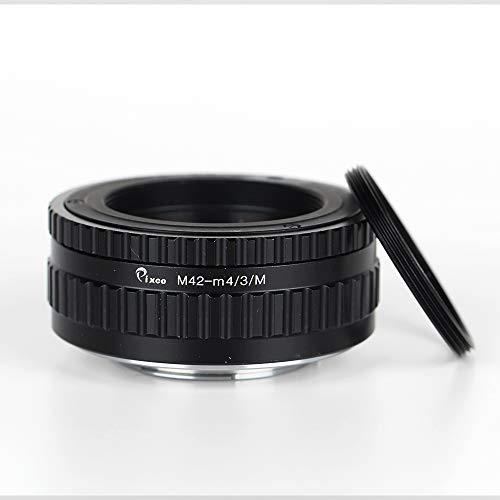 Pixco Adaptador de lente macro a infinito ajustable para montura M42 a cámara Micro Cuatro Tercios 4/3 + adaptador de filtro de anillo de 39-42 mm (M39-Mirco4/3 /M)