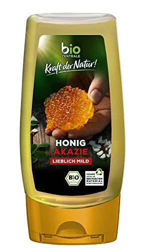 biozentrale Bio Akazienhonig | 350g Bio Honig aus weißen Blüten der Akazie| Ideal als Brotaufstrich Bio & Honig für Tee | Wabenhonig Alternative