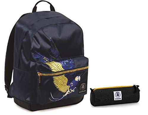 ZAINO INVICTA + Portapenne - RISE - Parrots Blu Patch - tasca porta pc padded - americano 28 LT