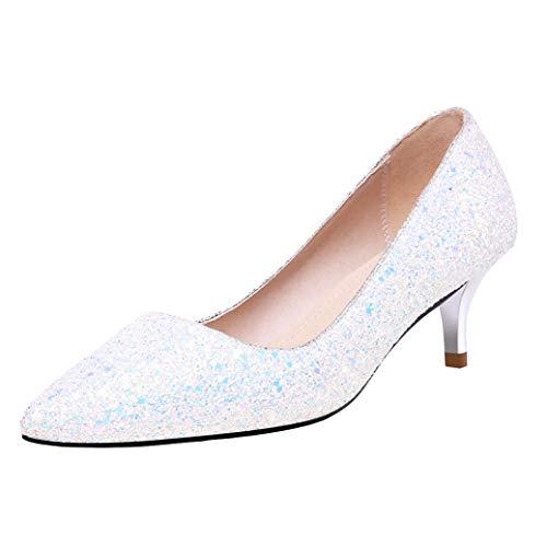 Brautschuhe Damen Glitzer Pumps Kleiner Absatz Spitz Hochzeit Schuhe (Weiß,40)