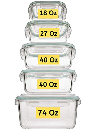 Extra Large & Assorted sizes Glass Food Storage Containers with Airtight Lids 10 Pc