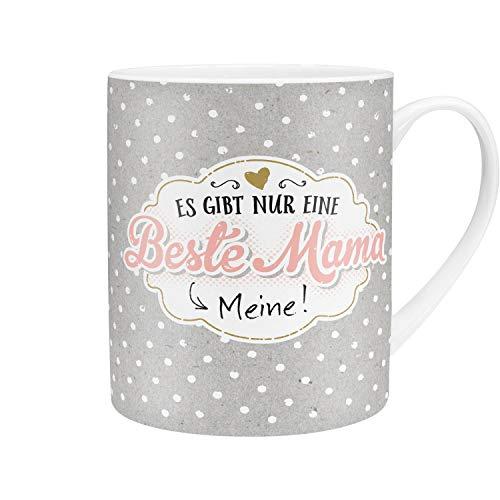 Die Geschenkewelt 45762 XL Cappuccino-Tasse, Motiv Beste Mama, Porzellan, 60 cl, mit Geschenk-Banderole, Rosa