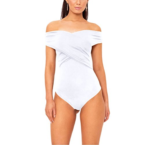Inlefen Mujeres Sexy Off Shoulder Slim Body sin Mangas Leotardo Mameluco