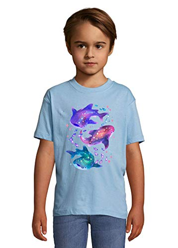 Luckyprint Casmic Whale Shark Astral Star Constilations Heaven Kids Colorful T-Shirt 2 Year Old