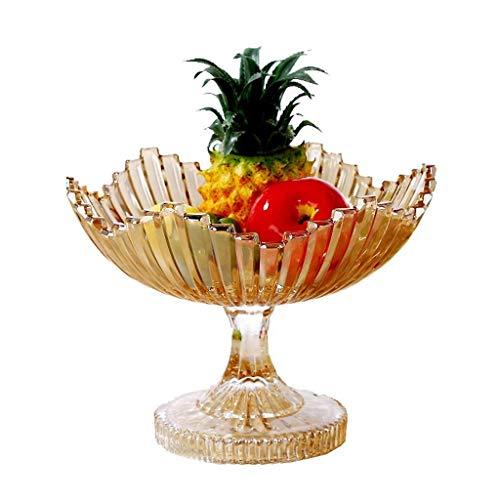ZTMN Plato de Frutas, tazón de Frutas de Vidrio Europeo Sala de Estar Merienda Melón Canasta de Frutas Plato de Ensalada Decoración de Mesa de Escritorio Plato de Frutas Canasta de Frutas