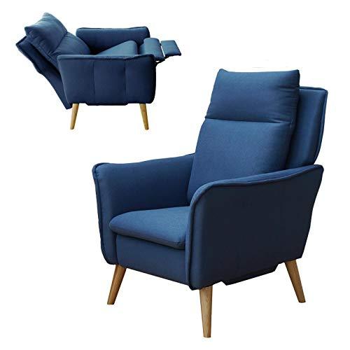 place to be. Relaxsessel Small mit Schlaffunktion, Sessel fürs Wohnzimmer im skandinavischen Design Eiche massiv Blau