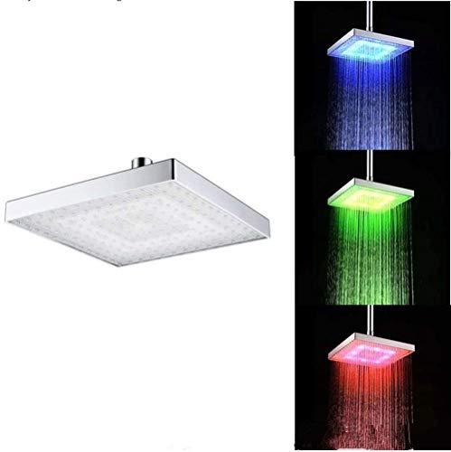 Cabezal de Ducha Cuadrado, Ducha LED Tricolor de 6 Pulgadas, Control de Temperatura Cambio de Temperatura