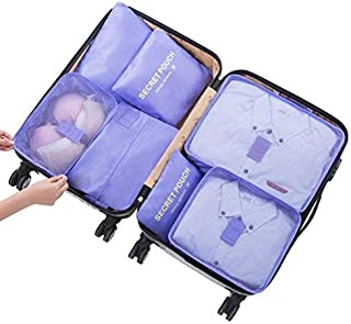 Go2buy 6pcs Travel Luggage Organizer Set Backpack Storage Pouches Suitcase Packing Bags (Purple)
