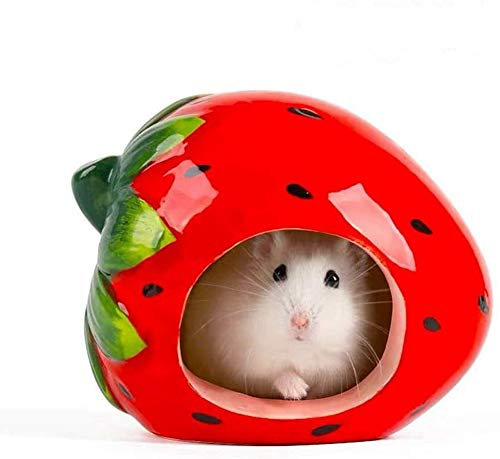 NUOHAN Small Animal Hideout Ceramic Hamster House Chinchilla Mini Hut Cave Cage Accessories for Dwarf Hamsters Gerbils and Hedgehog (Strawberry) (Strawberry)