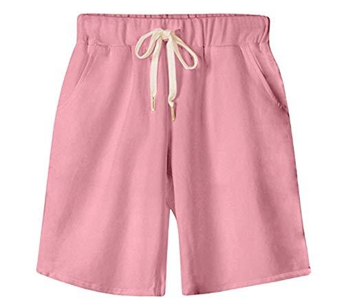 Vcansion Women's Drawstring Elastic Waist Shorts Plus Size Shorts Pink Asian 4XL/US 12-14