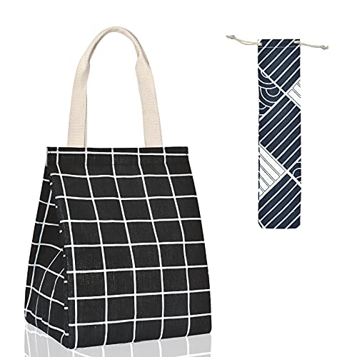 Insulated Lunch Bag Reusable Lunch Box Waterproof Containers Canvas Lunchbag with Aluminum Foil Portable Lunch Tote Bag Cute Handbag for Women Men Adults Work Picnic (Black Checkered)