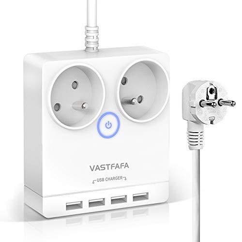 VASTFAFA Regleta Enchufes con USB 2500W 2 AC y 4 USB Puertos Proteccion contra sobretensiones Regleta de Alimentación de Viaje Compacta para Oficina,Hogar,Viajes Cable de 1.5M - Blanco