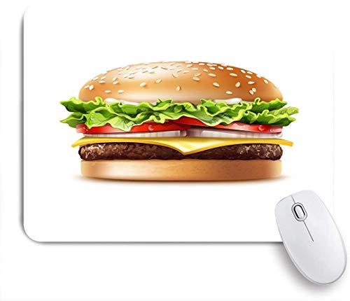 Aliciga Gaming Mouse Pad Rutschfeste Gummibasis,Essen American Cheeseburger mit Salat Tomaten Zwiebel Käse Rindfleisch und Sauce,für Computer Laptop Office Desk,240 x 200mm