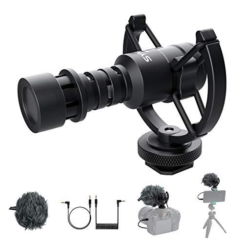 SYNCO Richtmikrofon Mikrofon auf Kamera, Kardioide Stoßdämpfung DSLR Videomic, Externes Microphone 3,5mm TRS/TRRS mit Windschutz für Canon Sony Nikon Panasonic Camcorder Smartphone Handy Mic-M1S