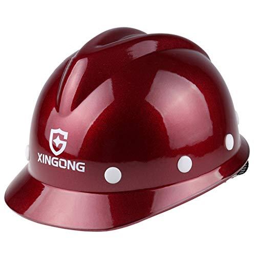HongTong Cascos Casco de Seguridad Construcción de Obra Construcción de Casco Anti-ácaros Tipo V (Color : Red 1) ✅
