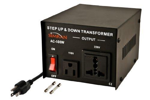Simran AC-500 110 to 220 Voltage Power Converter Step up Down Transformer, 500 Watt, Black