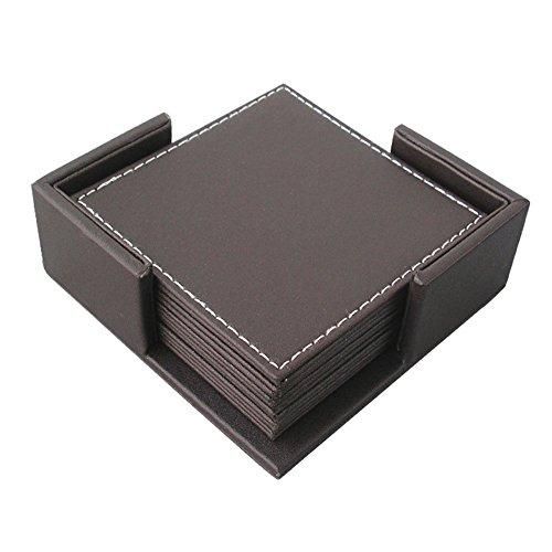 Famibay Lot de 6 dessous de verre carrés en cuir avec boîte de rangement pour cafés, bars, pubs, fêtes