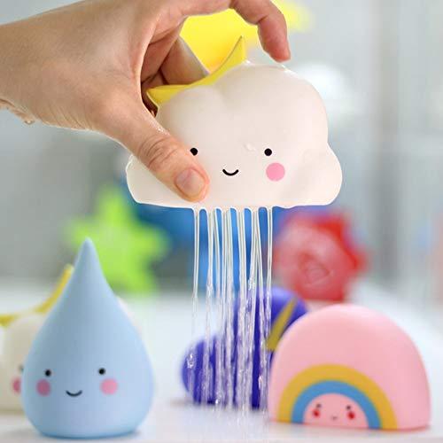 DEMEDO Smooth Watering Bath Toys for Kids, Bathtub & Swimming Pool Toys Gift Set, Pack of 4 (Rain, Cloud, Rainbow, Thunder Cloud)