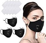 Navnika - 3 máscaras faciales reutilizables, lavables, con filtro para motocicleta, bicicleta, correr, ciclismo, actividades al aire libre, con 10 filtros de carbón activado