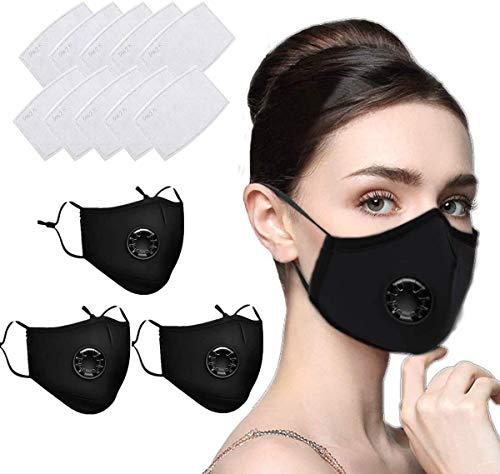 Navnika® - 3 máscaras faciales reutilizables, lavables, con filtro para motocicleta, bicicleta, correr, ciclismo, actividades al aire libre, con 10 filtros de carbón activado