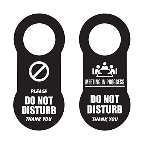 IGNIXIA Do Not Disturb Door Hanger Sign Pack of 02 Double side Dual Message Please Do not Disturb & Meeting in Progress Size 3.5 x 8 Inches Black Plastic (Black)