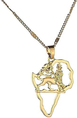 ZPPYMXGZ Co.,ltd Collar de Moda Color Dorado África León Mapa Colgante Collar Mapa Africano Hiphop Animal joyería Fiesta Regalo