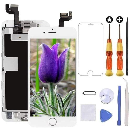 Brinonac Display per iPhone 6s Schermo 4,7 Pollici Schermo LCD Touch Parti di Ricambio con Home Pulsante, Fotocamera, Stanghetta,Sensore Flex Utensili Inclusi (Bianco)