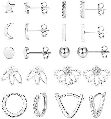 LOYALLOOK 10Pairs Stainless Steel Stud Earring Set Moon Star Bar Earrings Lotus Ear Jacket CZ product image