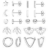 LOYALLOOK 10Pairs Stainless Steel Stud Earring Set Moon Star Bar Earrings Lotus Ear Jacket CZ Cuff Hoop Huggie Cartilage Earring for Women, Silver