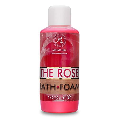 Espuma de Baño con Aceite Esencial de Palisandro 1000 ml - Cuidado del Cuerpo - Buen Sueño - Belleza - Baño - Cuidado del Cuerpo - Bienestar -- Aromaterapia - Spa - Aroma de Rosa - Baños de Burbujas