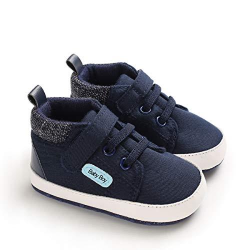 DEBAIJIA Lauflernschuhe Baby Segeltuchschuhe 6-12M Kinder Turnschuhe Jungen Leichtes Leinen Schuhe Mädchen Weiche Sohle 18 EU Dunkelblau (Etikettengröße 2)
