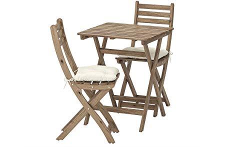 Opulence Trading - Juego de Muebles Plegables para jardín (1 Mesa + 2 sillas), Cojines incluidos