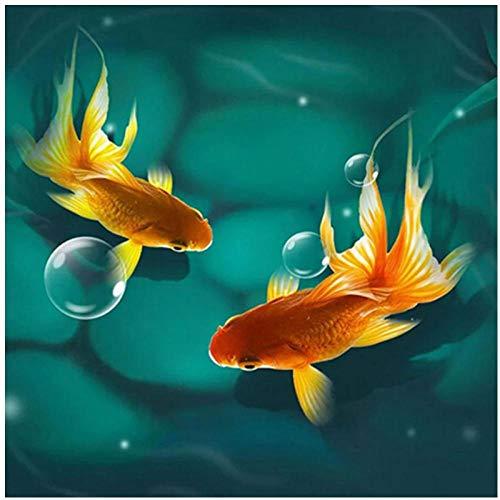 artaslf 5D DIY pintura de diamante cuadrado completo pez dorado bordado punto de cruz mosaico de diamantes de imitación decoración del hogar-40x40cm sin marco