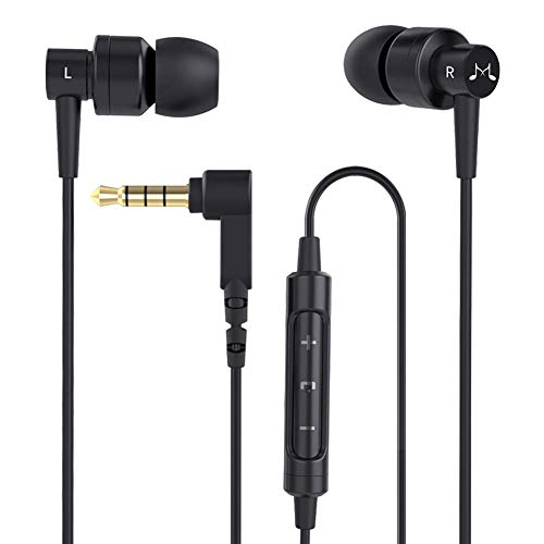 Soundmagic ES30C Earphones in Ear Headphones Smartphone Headphone Powerful Bass Wired Earbuds Noise Isolating Earphone with Mic Gaming Earbuds HiFi Sound - Black