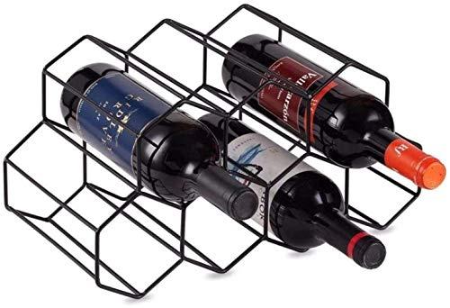 Mazu Homee Estante de metal separado para botellas de mesa, adecuado para el hogar, bodega, gabinete de bar, diseño geométrico, negro
