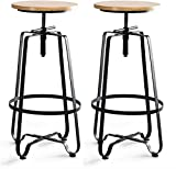 WENLI Adjustable Barstools Modern Industrial Style Wrought Iron Bar Chairs Set Of 2, Rotating Lifting Bar Stool,home Kitchen High Bar Stool pub seat Counter Bar Chairs (Color : Black)