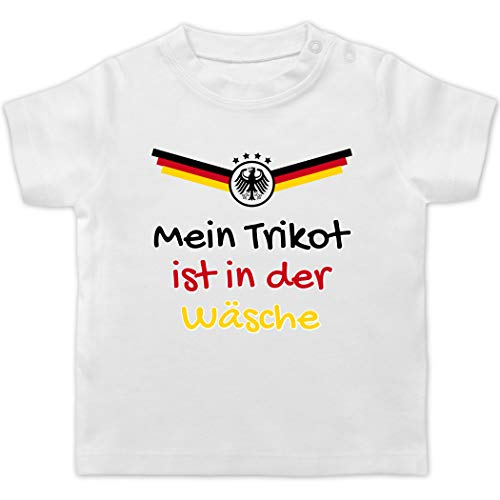 Fussball EM 2021 Fanartikel Baby - Mein Trikot ist in der Wäsche Deutschland - 1/3 Monate - Weiß - Baby wm 2018 Deutschland - BZ02 - Baby T-Shirt Kurzarm