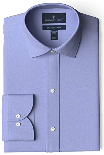 Amazon Brand - Buttoned Down Men's Slim-Fit Spread Collar Pinpoint Non-Iron Dress Shirt, Blue, 14.5'...