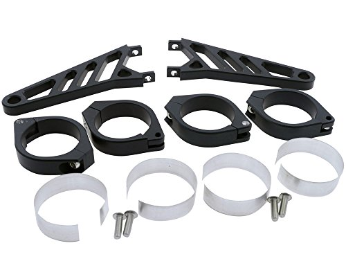 Lampenhalter Motorrad Highsider lang CNC Alu Set für 42-43 mm Gabel,schwarz