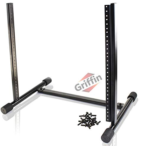 Rack Mount Stand with 10 Spaces by Griffin | Music Studio Recording Equipment Mixer Standing Case | RackMount Audio Network Server Gear for DJs, Stage Performers and Bands|Includes 20 Standard Screws
