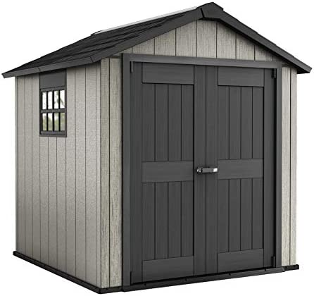 Keter Oakland 7 5 x 7 Outdoor Duotech Storage Shed Paintable with Window and Skylight Grey product image