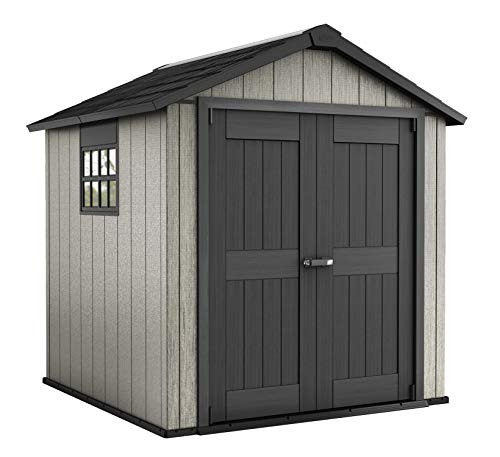 Keter Oakland 7.5 x 7 Outdoor Duotech Storage Shed, Paintable with Window and Skylight, Brown