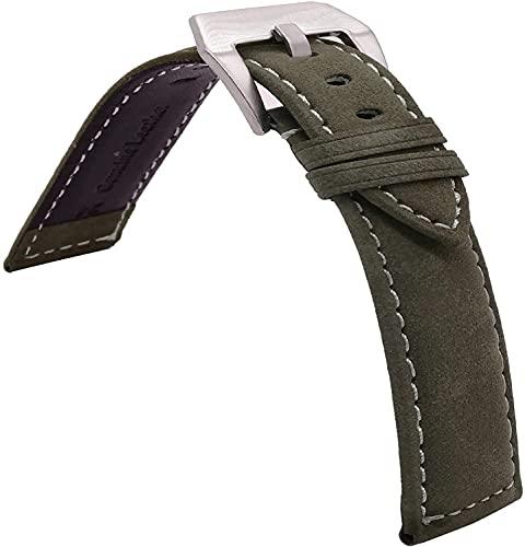 Chtom 18 mm 20 mm 22 mm de reloj de cuero correa de cocodrilo color de cuero de cuero de cuero de la banda de la banda de despliegue para hombres y mujeres