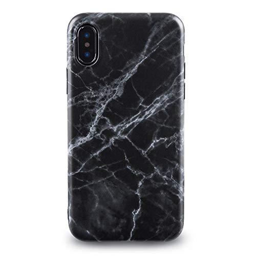 Oveo® für iPhone X/XS Hülle, Slim Fit Silikon Handyhülle mit Matt Schwarz Marmor Muster